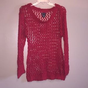Wet Seal Red Keyhole Knit Sweater Size M